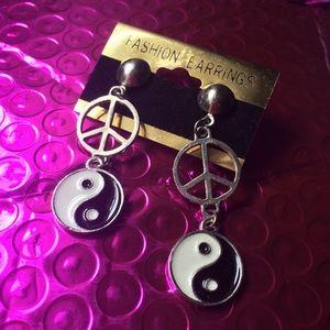 Vintage Peace Sign Yin Yang Earrings